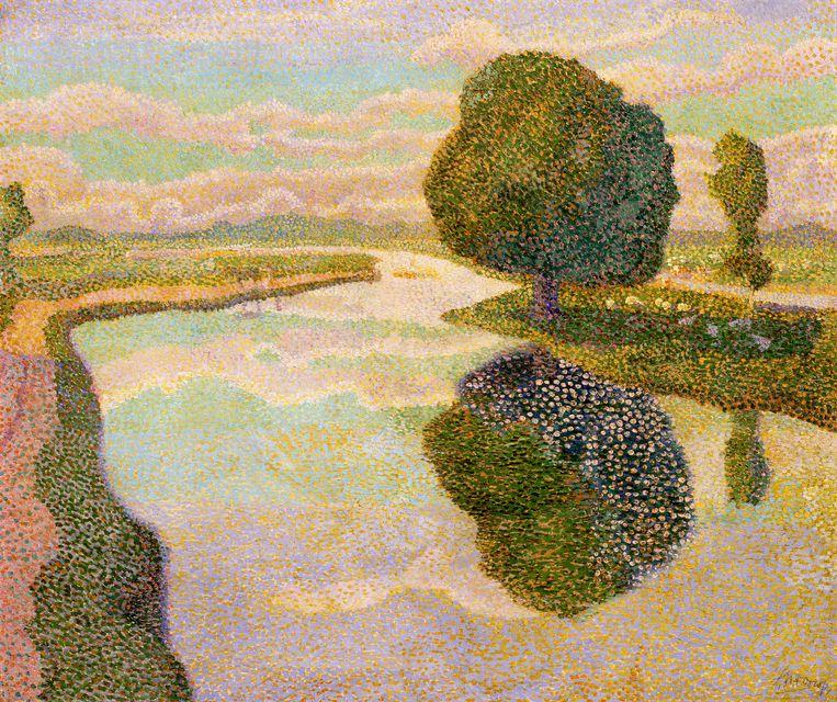 Jan Toorop - Landschap met de vaart (de kastanjeboom) (1894) Dordrechts Museum Beeld