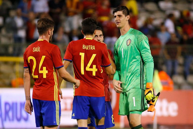 BRUSSELS, BELGIUM - SEPTEMBER 01: Thibaut Courtois goalkeeper of Belgium  during a FIFA international friendly match between Belgium and Spain at the King Baudouin Stadium on september 01, 2016 in Brussels, Belgium , 01/09/2016 ( Photo by Jimmy Bolcina / Photonews Beeld null