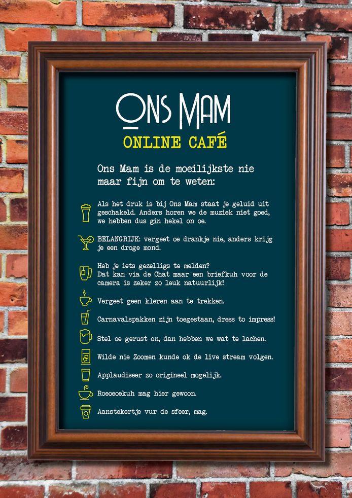 De huisregels van onlinecafé Ons Mam.