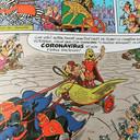 Beeld uit het album 'Asterix en de race door de laars' (Astérix et la Transitalique), met inderdaad... Coronavirus.