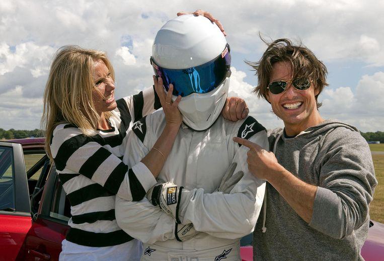 Cameron Diaz en Tom Cruise slaagden er niet in The Stig te ontmaskeren. Beeld UNKNOWN