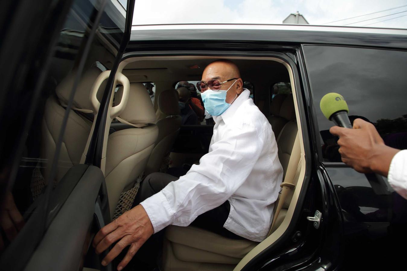 De Surinaamse oud-legerleider en ex-president Desi Bouterse komt aan bij de rechtbank voor een zitting eind maart.