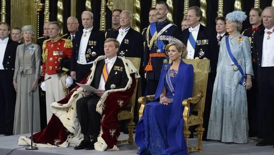 Koning Willem-Alexander en koningin Máxima in de Nieuwe Kerk, vanmiddag.
