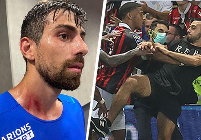 Luan Peres, l'un des Marseillais touchés durant les incidents qui ont conduit à l'arrêt du match entre Nice et Marseille.
