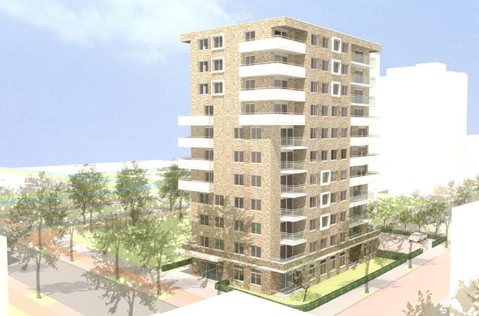 In de Haagse wijk Bouwlust/Vrederust, op de hoek van de Bouwlustlaan en de Wezelrade, realiseert Vestia een appartementengebouw met 42 sociale huurwoningen en een parkeerterrein.