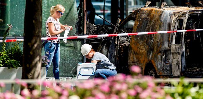 Onderzoek na de aanslag op het gebouw van De Telegraaf in juni 2018.