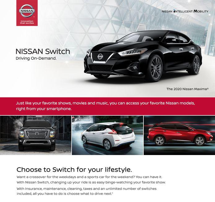 De homepage van Nissan Switch
