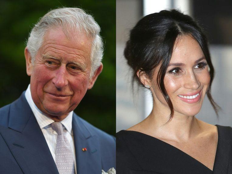 Prins Charles en Meghan Markle, die morgen met prins Harry in het huwelijk treedt. Beeld AFP