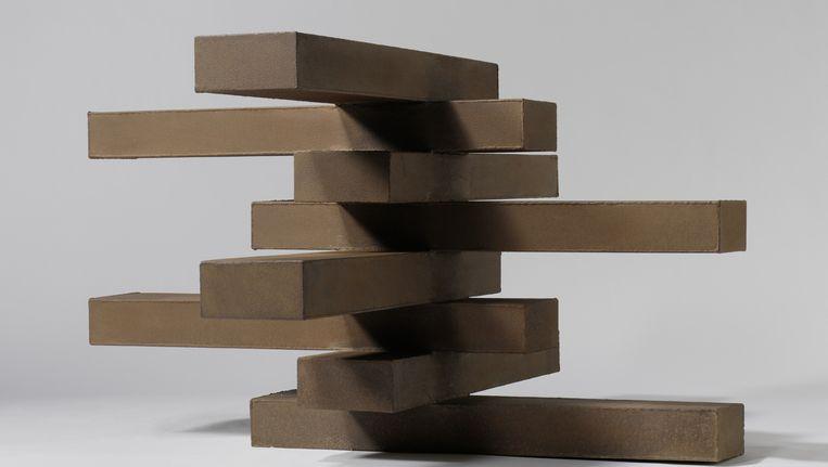 Acht gestapelde balken. Kunstwerk van Carel Visser uit 1964. Beeld Carel Visser