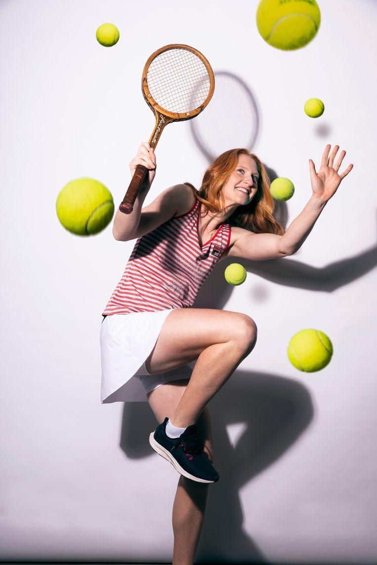 """Alison Van Uytvanck: """"Ik twijfel heel snel en dan begint het hierboven te malen. Dat verstoort mijn tennis."""" Beeld Thomas Vanhaute"""