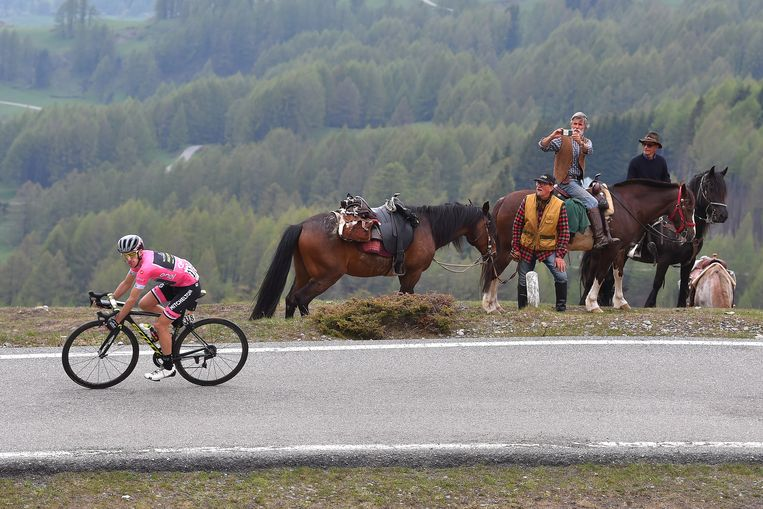 BARDONECCHIA - JAFFERAU, ITALY - MAY 25: Simon Yates of Great Britain and Team Mitchelton-Scott Pink Leaders Jersey / Horses / during the 101st Tour of Italy 2018, Stage 19 a 185km stage from Venaria Reale to Bardonecchia - Jafferau 1908m / Giro d'Italia / on May 25, 2018 in Turin, Italy. (Photo by Tim de Waele/Getty Images) Beeld Getty Images