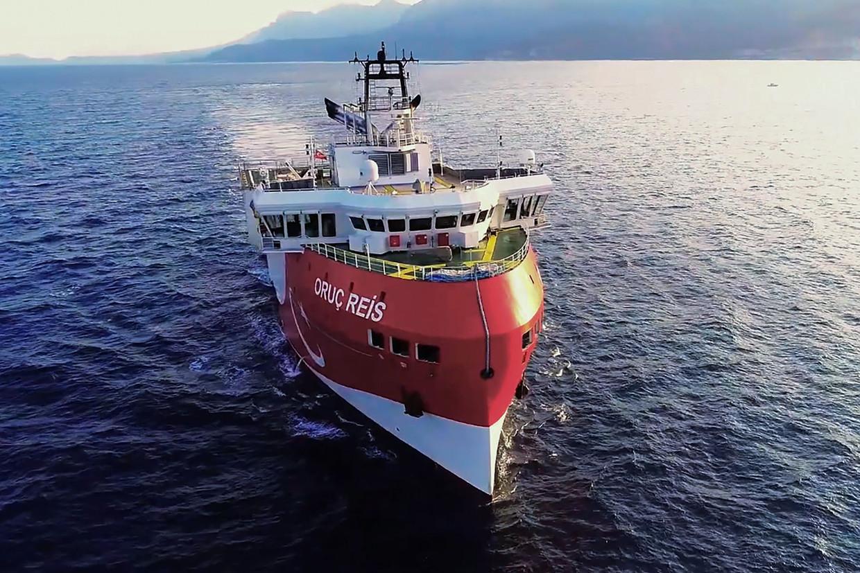 Dinsdag liet Turkije het onderzoeksschip Oruc Reis uitvaren.Het zoekt naar gas in een deel van de zee dat Griekenland claimt.  Beeld AFP