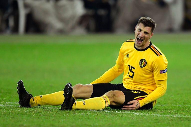 Thomas Meunier schreeuwt de frustraties uit: de Zwitsers waren gisteren te sterk voor de Rode Duivels. Beeld Photo News