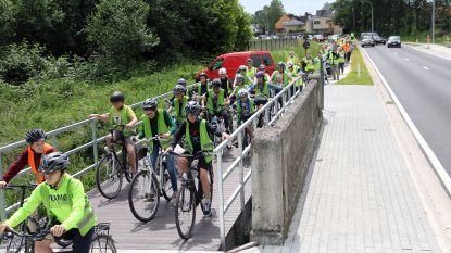 Senioren en scholieren fietsen vrijliggende fietspaden tussen Balen en Mol in