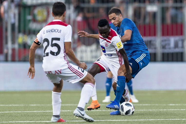 Sofyan Amrabat in de met Feyenoord zwaar verloren voorrondepartij in Trencin voor de Europa League.