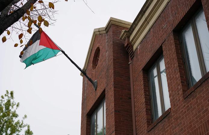 De Palestijnse vlag bij het PLO-kantoor in Washington.