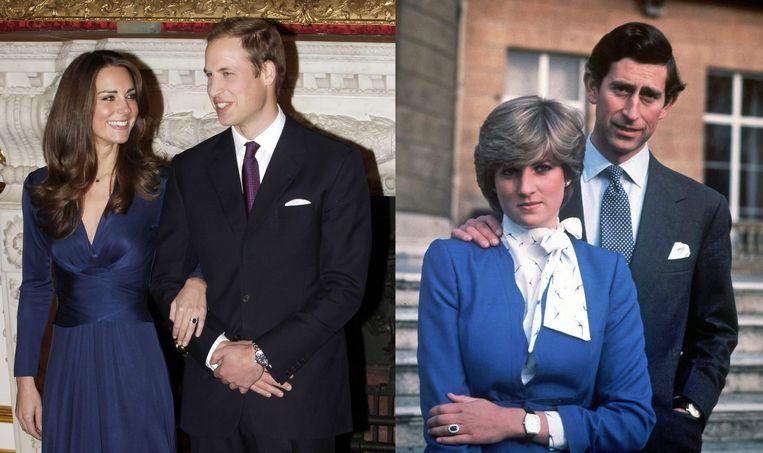 Kate Middleton en prinses Diana met de verlovingsringen. Met respectievelijk prins William en prins Charles aan hun zijde.