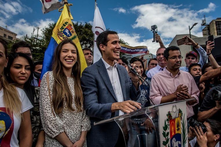 Juan Guaidó, tijdens een bijeenkomst in Caracas, januari 2019. Enkele dagen later zouden zeven Europese landen, waaronder Nederland, hem erkennen als interim-president van Venezuela.  Beeld Meridith Kohut  / Hollandse Hoogte / The New York Times