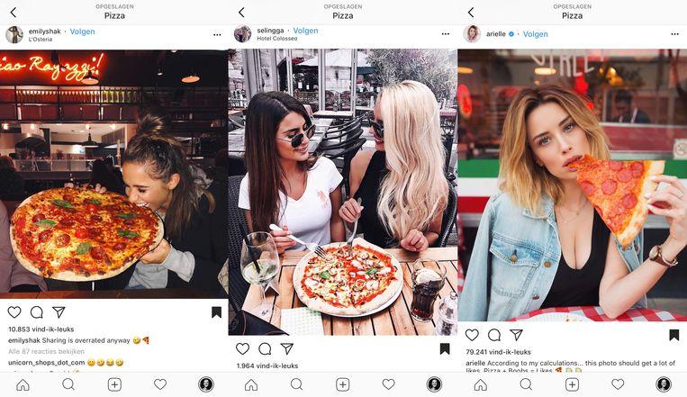 De pizzatrend: ultraslanke en bloedmooie vrouwen met gigantische pizza's voor hun neus. Beeld Instagram