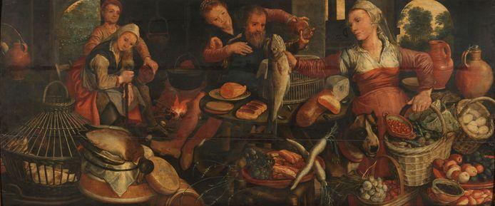 Keukenstuk (1560-1565) met verschillende personen te midden van groenten, vruchten, brood, gevogelte en vis.