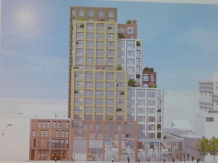 Nummer 4, een verzameling lagere torens, 'te plomp', volgens de Omgevingscommissie en technisch lastig, want deels boven de oude V&D-kelder