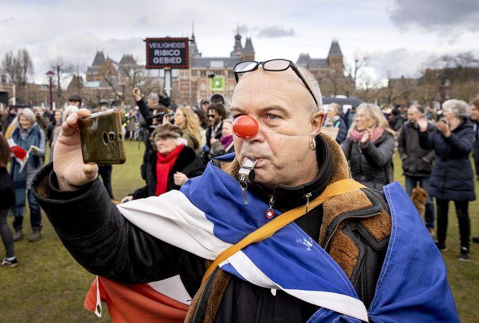 Het protest in Amsterdam.