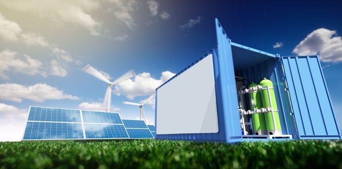 Schets van elektrolyser, waarin groene stroom kan worden opgeslagen door het om te zetten in waterstof om er daarna weer elektriciteit van te maken.