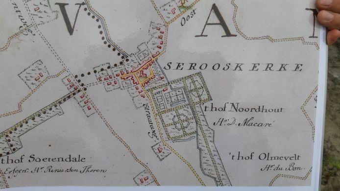 Een oude kaart van 't Hof Noordhout bij Serooskerke, waar ooit Abraham Bisschop, de ambachtsheer van Serooskerke woonde.