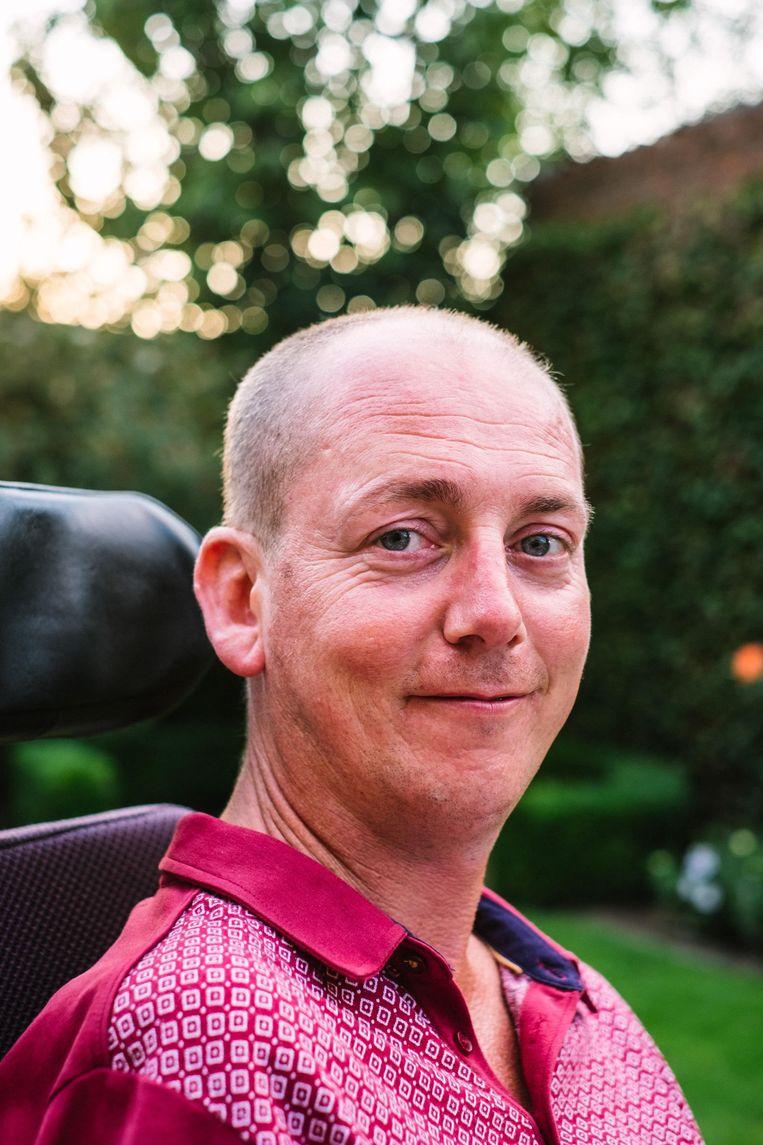 Kris Van Reusel, ALS-patiënt. Beeld Jonas Lampens