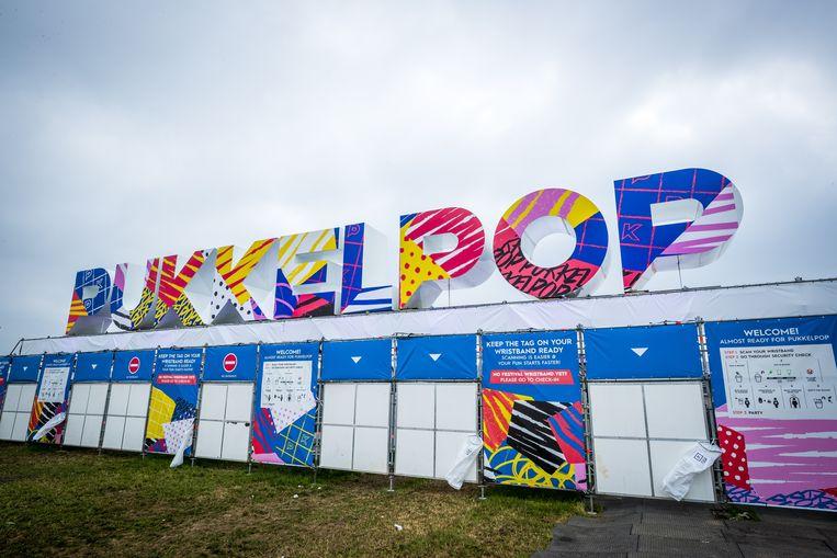 Toegangspoort van het 4-daagse festival Pukkelpop in België, dat dit jaar niet doorgaat. Beeld ANP Kippa