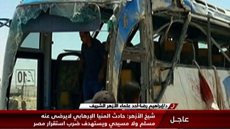 Bij de aanslag op een bus christenen in de Egyptische provincie Minya vielen 29 doden. Beeld AFP