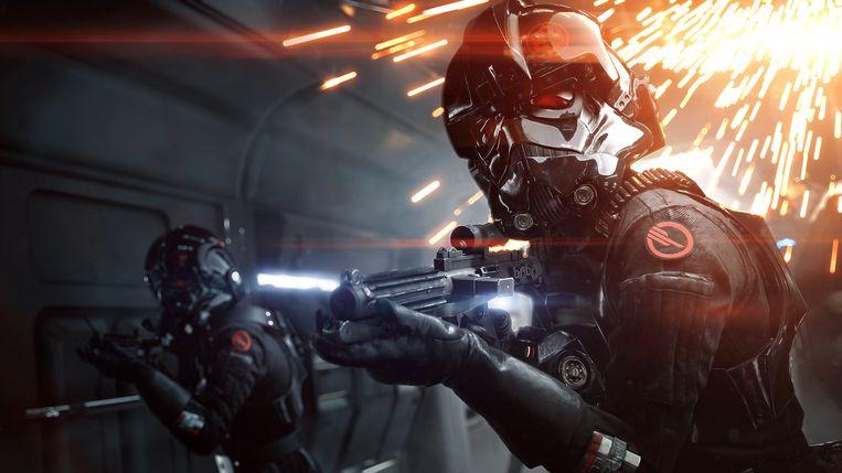 Versio in haar tenue van Inferno Squad, de speciale eenheid binnen de keizerlijke troepen. Beeld Electronic Arts