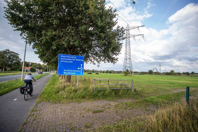 Het weiland aan de Koningin Wilhelminaweg in Maartensdijk waar een zonnepark moet komen.