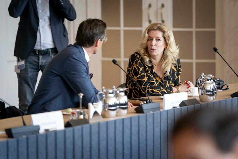 Liane de Haan (50Plus) tijdens een bijeenkomst met andere fractievoorzitters op de dag na de Tweede Kamerverkiezingen. De kersverse partijleider ligt onder vuur. Beeld ANP