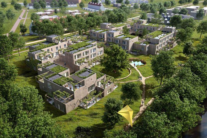 Impressie van OAK een bouwproject van Janssen De Jong Projectontwikkeling en onder andere FAAM Architecten, voor Bosrijk Meerhoven in Eindhoven.