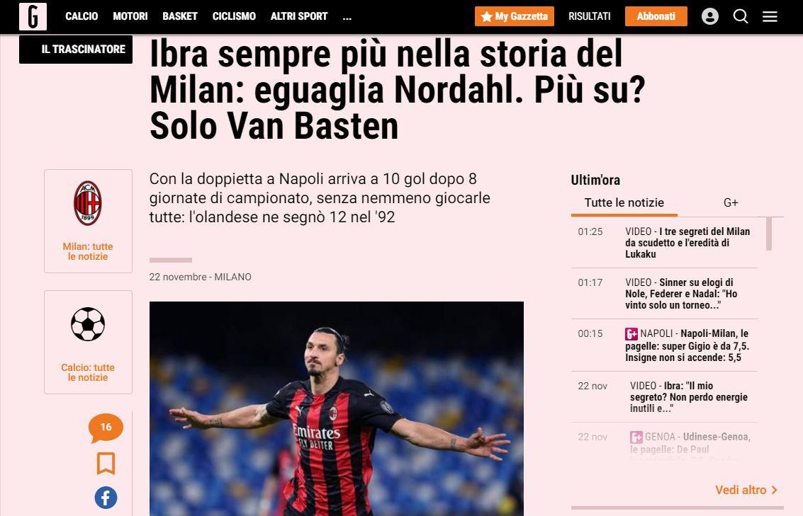 Zlatan is topschutter in de Serie A en krijgt flink wat lof.