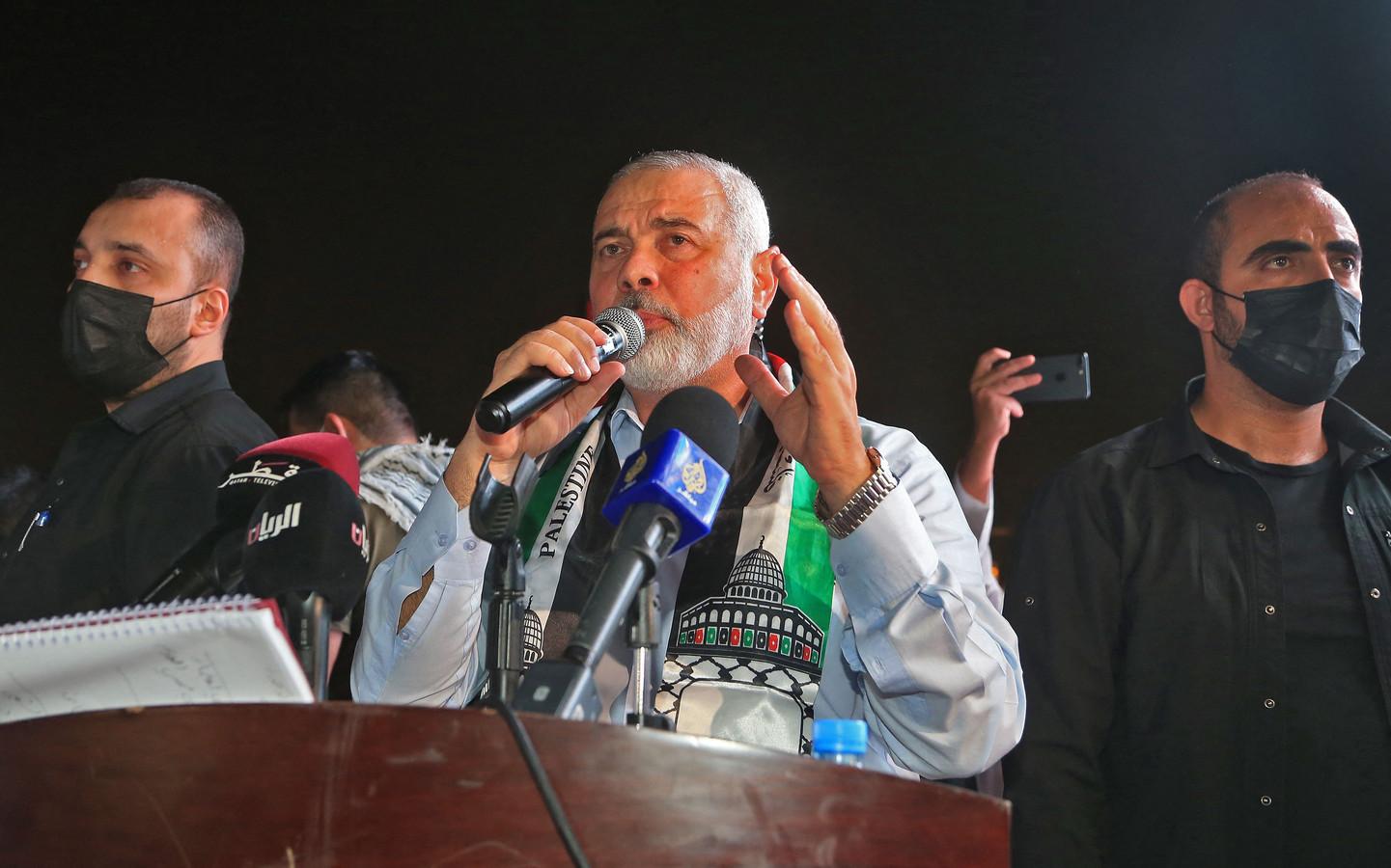Hamas-leider Ismail Haniyeh tijdens een toespraak bij een manifestatie voor het Palestijnse volk in de Qatarese hoofdstad Doha. (15/05/2021)