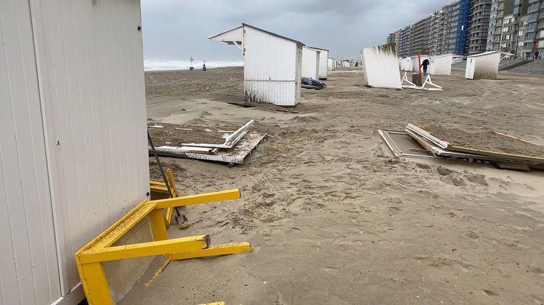 Storm Odette richt schade aan in Blankenberge. Beeld Jan Van Maele