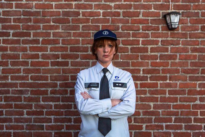 Maaike Cafmeyer in de huid van Chantal Vantomme, zoals ze volgend jaar op Eén in de nieuwe serie 'Chantal' te zien zal zijn.