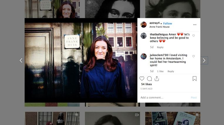Een Instagram-post aan het Anne Frank Huis in Amsterdam. Beeld rv
