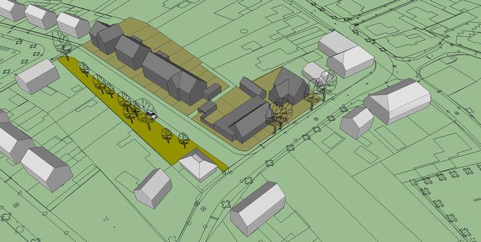 Een globale verbeelding van de woningen die bouwbedrijf Van Peer in Megen wil optrekken. De witte blokjes zijn bestaande panden. De Walstraat loopt van midden onder naar rechtsboven.