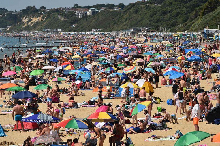 Er kon nauwelijks nog volk bij vandaag op het strand van Bournemouth.