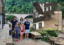 De familie Knol uit Teuge voor hun verwoeste B&B in Fuchshofen. Inzet: de kolkende modderstroom.