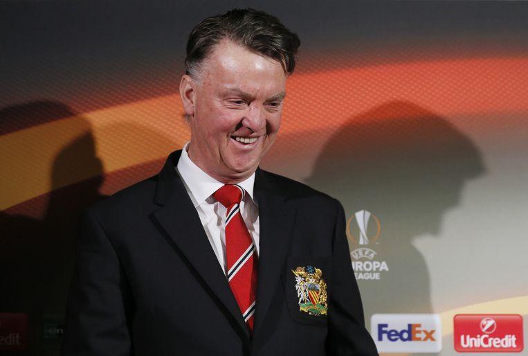 Op de persconferentie in Manchester, woensdag, voor de returnwedstrijd tegen aartsrivaal Liverpool in de Europa League. Beeld REUTERS