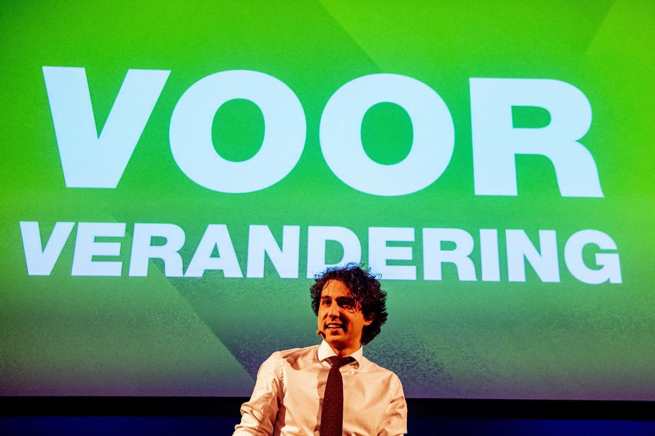 Jesse Klaver tijdens een campagnebijeenkomst.