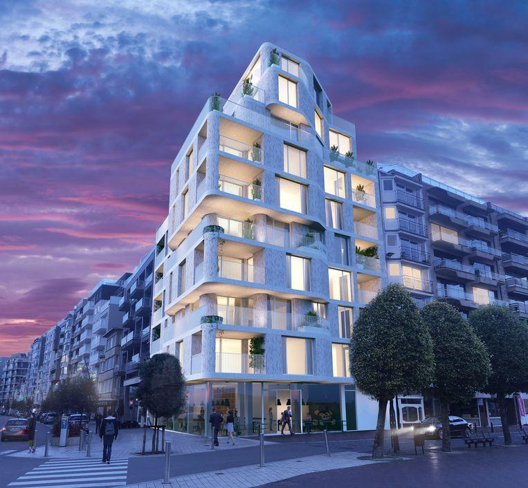 Een toekomstbeeld van het appartementsgebouw.