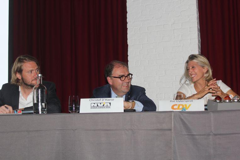 Archieffoto van Jean-Jacques De Gucht (Open Vld), Christoph D'Haese (N-VA), Ilse Uyttersprot (CD&V) in een debat net voor de verkiezingen van 2018.