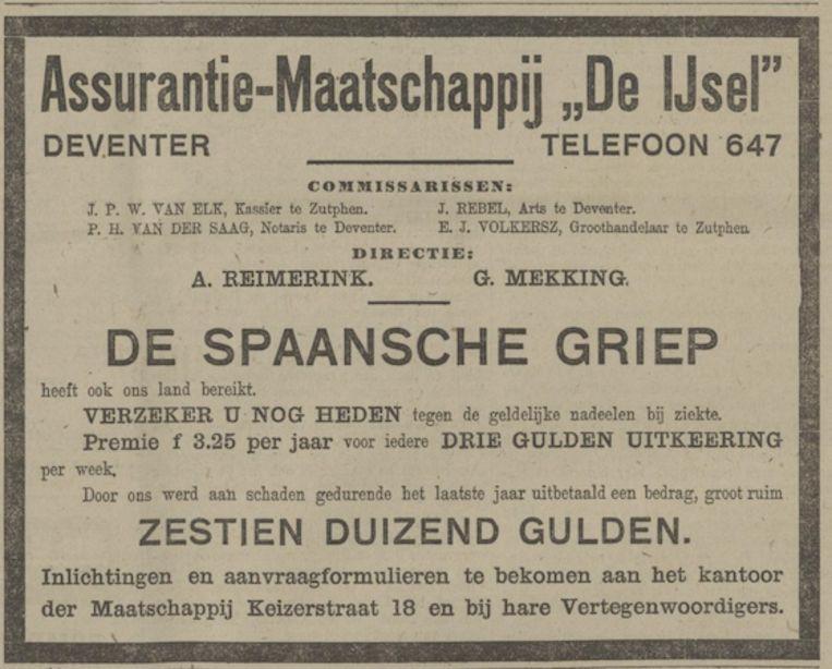 Een advertentie in de krant, ruim honderd jaar geleden, van een assurantiebedrijf dat wil dat mensen zich laten verzekeren tegen de Spaansche Griep. Beeld Provinciaalse Overijsselse en Zwolsche Courant, 1918