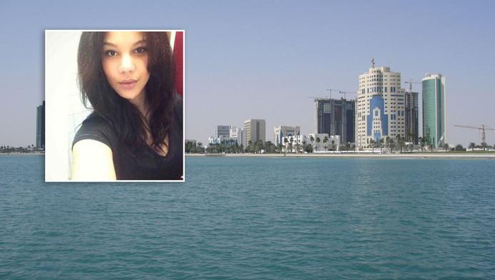 De skyline van Doha. Inzet: Laura