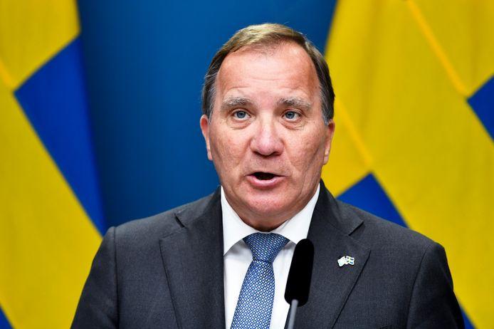 Premier Stefan Löfven tijdens een persconferentie nadat zijn regering viel.